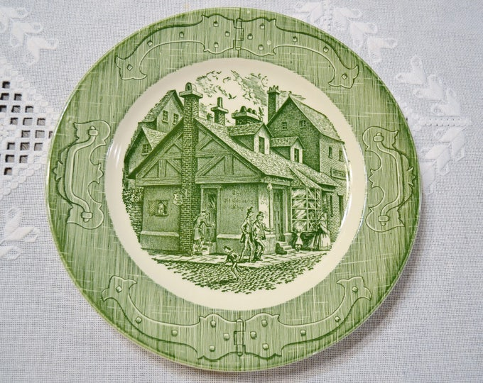Vintage The Old Curiosity Shop Dinner Plate Green White Transferware Royal China USA Replacement PanchosPorch