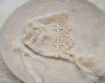 Newborn Photo Prop, Newborn Bonnet, Lace Bonnet, Lace Hat, Christening Bonnet, Newborn Girl Hat, Newborn Props, Baby Girl Photo Prop, 082