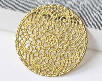 6 pcs Raw Brass Filigree Large Flower Round Embellishments 40mm A9015