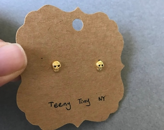 Gold Tiny Mini Skull Stud Earrings Type B - Gold plated over Sterling Silver