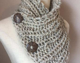 Pattern for Old York Scarf - chunky knit button cowl Knitting pattern