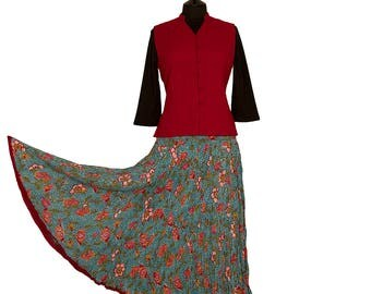 Block Printed CRINKLE SKIRT - One size 8 to 18 - Turquoise with coral flowers