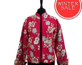 WINTER SALE - Large size - Kantha Jacket - Short style - Size 12/14 - Bright red with off white. Reverse multicoloured.