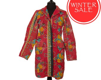 WINTER SALE - Medium size - Classic Kantha Jacket - Raspberry red with turquoise and yellow.