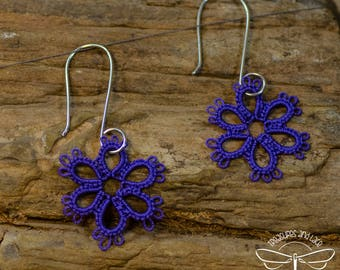 Purple Tatted Lace Flower Earrings