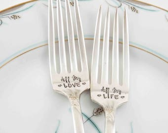 Custom Wedding Forks, Personalized Wedding Forks, All My Love, Wedding Gift, Wedding Silverware, Vintage Forks, Cake Forks