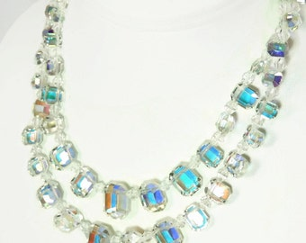 AB Crystal Necklace Emerald Cut Beads Iridescent Double Strand c1950