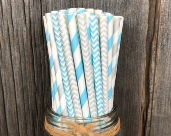 Silver Straws, Blue Paper Straws, 100 Paper Straws, Chevron Straws, Birthday Party, Shower Party Supply, Wedding Straws, Free Shipping