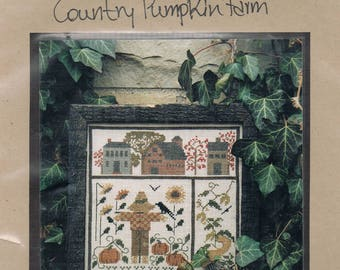 CROSS STITCH PATTERN - Pumpkin Harvest Cross Stitch Pattern - Harvest Sampler - Fall Sampler - Folk Art Cross Stitch