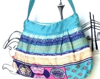 Handmade Bag , crossover,vegan, tropical pattern
