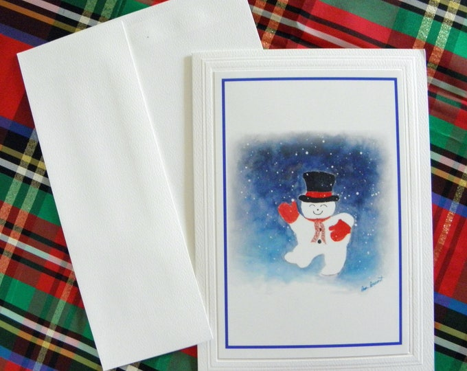 DANCING SNOWMAN Greeting Card created for Pam's Fab Photos by Pam Ponsart from her original watercolor painting