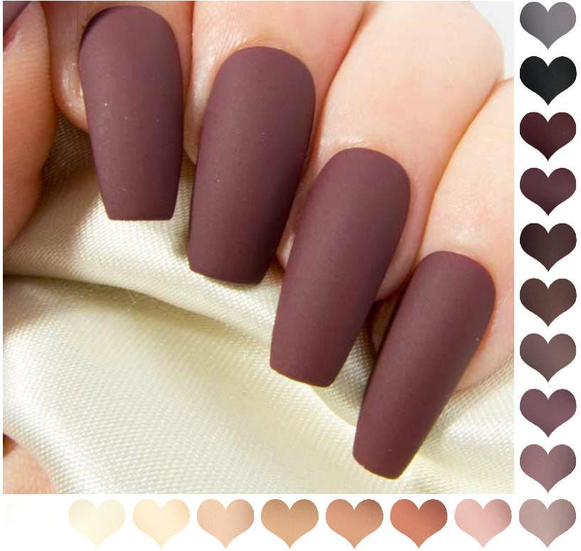 Coffin Fake Nails Matte - Nude Press On Nails - Burgundy False Nails ...