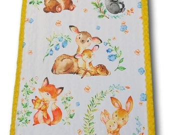 Woodland Baby Quilt, Baby Animals, Animal Baby Quilt, Baby Forest Animals Baby, Baby Quilt, Woodland Baby, Woodland Nursery, Deer Quilt