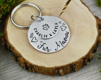 Fur Mama Personalized Keychain - Handstamped Pet Gift - Dog Mom - Cat Mom