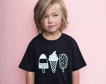 Organic cotton Monochrome Ice Lolly kids t-shirt in black