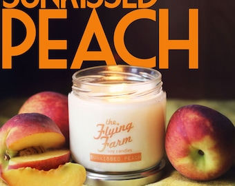 Sunkissed Peach~ Small Batch 12oz Scented Soy Jar Candle
