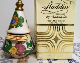 vintage ceramic perfume bottle from Greece. Aladdin or Genie by Anastasios with compartments for solid and liquid perfume. Anapal Ceramics