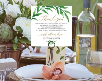Thank You Card - Wedding Thank You Place Card - Wedding Reception - Place Setting - Editable Thank You - Greenery - Instant Download