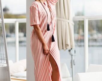 Striped summer dress swimwear beach cover up maxi white dress