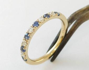 Sapphire & Diamond Ring / Band 14 K.Solid Gold Engagement/Anniversary Handmade in U.S