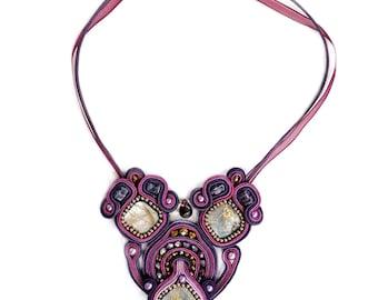 Soutache necklace - Soutache jewelry - Statement necklace - Textile jewelry - Chunky necklace - Big bold jewelry - Glamour necklace