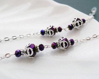 Purple Crystal Eyeglasses Chain - Eyeglasses Chain - Glasses Chain - Eyeglasses Holder - Eyeglasses Leash - Lanyard