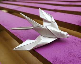 Origami Swallow Brooch