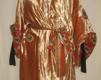 Dress orange velvet OBLOMOV kimono
