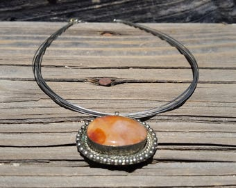 Agate Multi Strand Sterling Silver Necklace