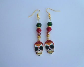 Red Day of The Dead Earrings,Sugar Skull Earrings,Skull Jewelry,Halloween Jewelry,Holiday Jewelry,Halloween Earrings