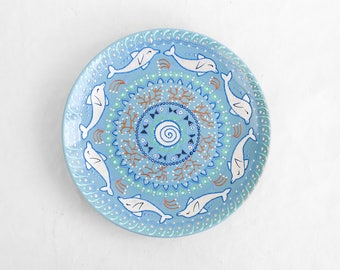 Pale blue nautical plate - Collectible plate - Nautical decor - Decorative plate - Decorative plate