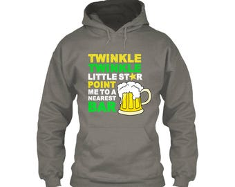 "Men's Hoodie T Shirts with Title ""Twinkle twinkle Little Star..."""