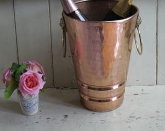 Large French Vintage Copper Champagne Bucket -  Villedieu brand Jeroboam Bucket