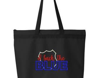 Police Tote Bag/ Embroidered I Back The Blue Police Tote Bag/ Police Wife Bag/ Police Girlfriend Bag/ Police Mom Bag/ Police Officer Gift
