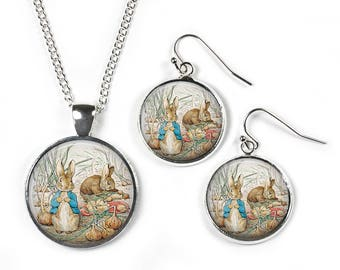 PETER RABBIT Beatrix Potter - Set: Pendant, Chain & Earrings - Glass Picture Jewellery - Silver Plated