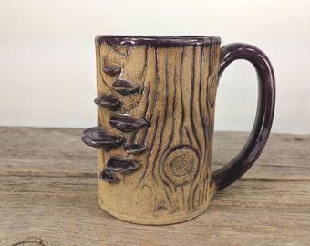 Shelf Fungus Stump Mug - 14 oz - Enchanted Forest - Statement Mug - Fall Coffee Mug Mugs - Fairy Gift Idea - Wanderlust - Mesiree Ceramics