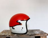 Red Falcon Decal Vintage Motorcycle Helmet, Cougar Red and white, bobber helmet, buco style, motorcycle decor, hustler, biker collectible