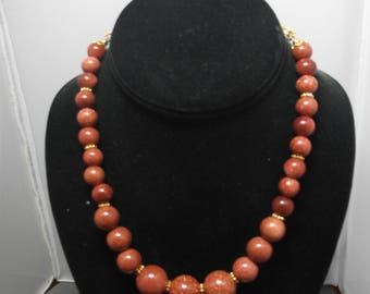 "18"" Goldstone Bead Necklace & Earrings"