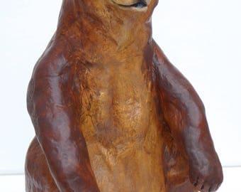 Native American Indian spirit grizzly bear ornament sculpture ancient rock art pottery southwest decor Santa Fe style Yellowstone wildlife