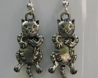 Silver Cat Earrings, Handcrafted, moving head and front paws, handmade artisan cat jewelry