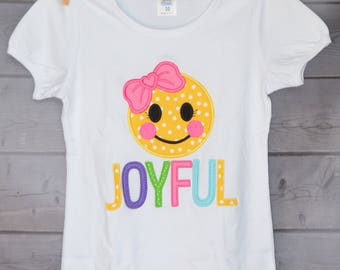 Personalized Happy Face Joyous Custom Applique Shirt or Onesie Boy or Girl