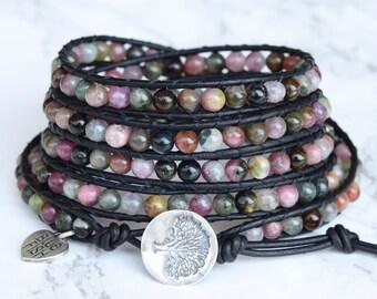 Wrap Bracelet, Tourmaline Bracelet, Beaded Wrap Bracelet, Tree of Life Button, Bracelet Wrap Leather, Tourmaline Gemstones