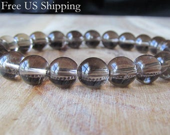 8mm Smokey Quartz Bracelet, Gemstone Bracelet, Natural Stones, Womens or Mens Bracelet, Mens Jewelry, Mala Yoga Jewelry, Meditation