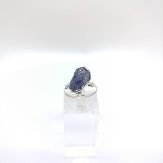 Raw Iolite Ring   Water Sapphire Ring   Raw Crystal Ring   Raw Stone Ring   Sterling Silver Ring Sz 7   Raw Stone Ring   Rough Stone Ring