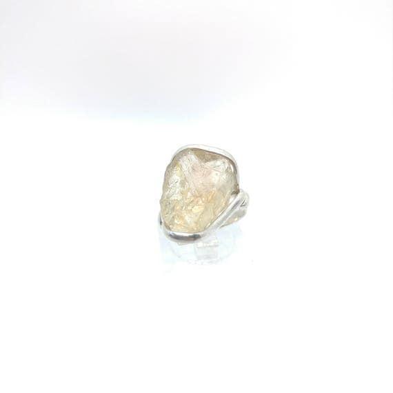 Raw Crystal Ring   Oregon Sunstone Ring   Rough Crystal Ring   Sterling Silver Ring Sz 6.5   Schiller Oregon Sunstone Ring   Raw Stone Ring