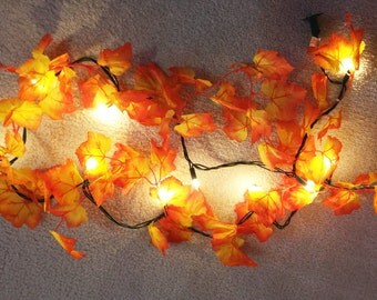 Autumn Leaf Lights, Autumn Leaves Garland with String Lights, Fall Leaves Light String Autumn Decor Harvest Thanksgiving Decorations Lighted