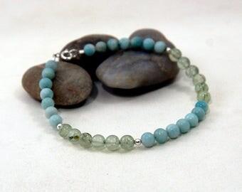 Mens Beads Bracelet, Unisex Beads Bracelet, Amazonite and Prehnite Bracelet, Unisex Amazonite and Prehnite with Sterling Silver Bracelet