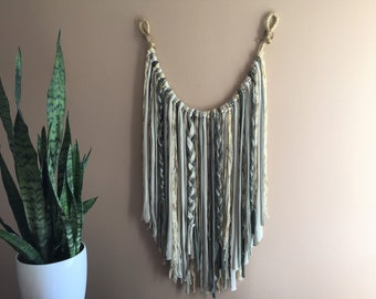 Large Wall Hanging Tapestry Boho Bohemian Chic Modern Bed Dorm Living Nursery Room Green White Braided Rope Decor Tassels Neutral Macrame