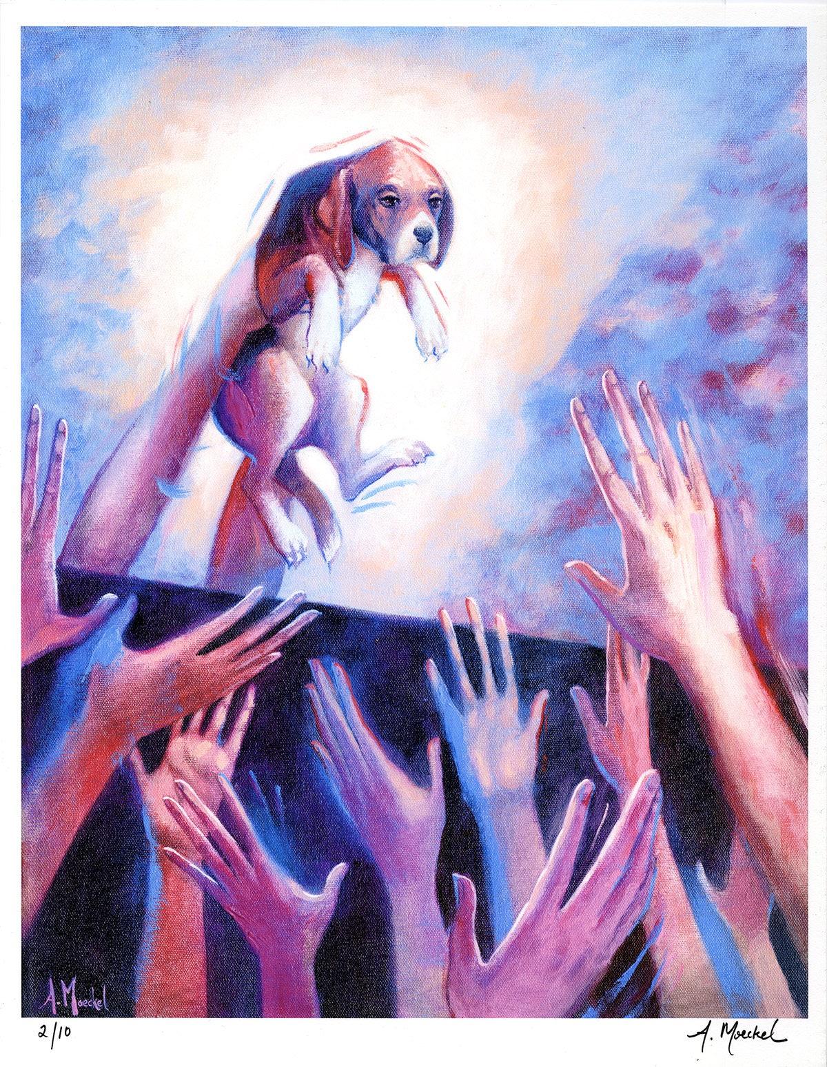 "Numbered ""Stewards No. 1"" print, Series of 10,  Animal liberation art."