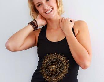 Women's GOLD MANDALA Graphic Yoga Tank, Hand Screen Print, Organic Cotton, Black